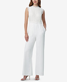 Tahari ASL Lace Wide-Leg Jumpsuit