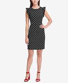 Tommy Hilfiger Dot-Print Flutter-Sleeve Sheath Dress