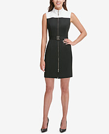 Tommy Hilfiger Belted Colorblocked Sheath Dress
