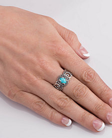 Carolyn Pollack Sleeping Beauty Turquoise Scroll Band Ring in Sterling Silver