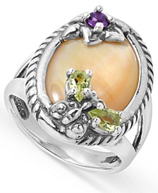 Mother of Pearl and Gemstone Butterfly and Flower Ring in Sterling Silver