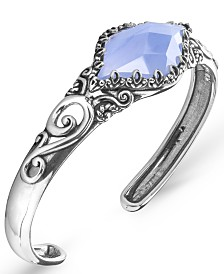 Carolyn Pollack Blue Lace Agate (16x30mm) Cuff Bracelet in Sterling Silver