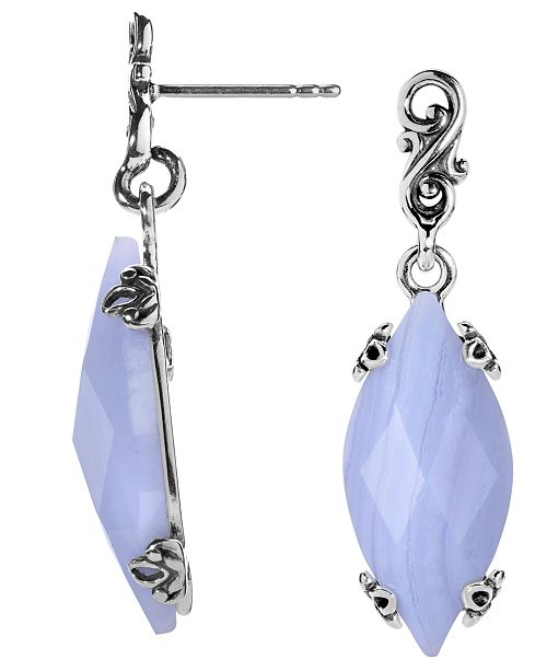 Carolyn Pollack Blue Lace Agate Earrings in Sterling Silver
