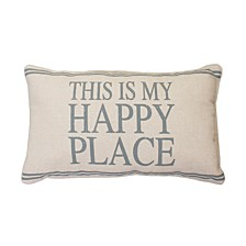 "DNU - Polyester Fill Tricia This Is My Happy Place Pillow, 12"" x 20"""