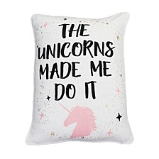 "Polyester Fill The Unicorns Made Me Do It Raised Foil Print Faux Linen Pillow, 14"" x 18"""