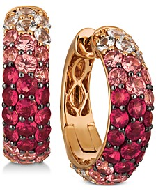 Strawberry Layer Cake Multi-Gemstone Ombré Hoop Earrings (4-1/5 ct. t.w.) in 14k Rose Gold