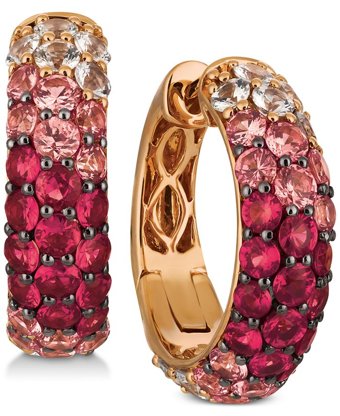 Le Vian - Pink Sapphire (2-1/4 ct. t.w.) & Ruby (3/4 ct. t.w.) Double Strand Bolo Bracelet (3 ct. t.w.) in 14k Rose Gold