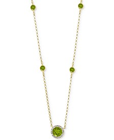 "EFFY® Peridot (1/2 ct. t.w.) & Diamond (1/3 ct. t.w.) 18"" Pendant Necklace in 14k Gold"