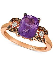 Grape Amethyst (1-3/4 ct. t.w.) & Chocolate and Vanilla Diamond (1/5 ct. t.w.) Ring in 14k Rose Gold