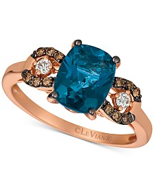 Le Vian® Dep Sea Blue Topaz (2-1/3 ct. t.w.) & Chocolate and Vanilla Diamond (1/5 ct. t.w.) in 14k Rose Gold