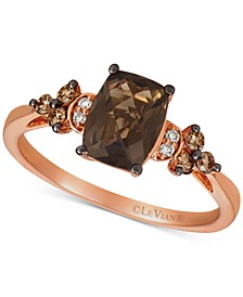 Chocolate Quartz (1-1/4 ct. t.w.) & Vanilla and Chocolate Diamond (1/6 ct. t.w.) Ring in 14k Rose Gold