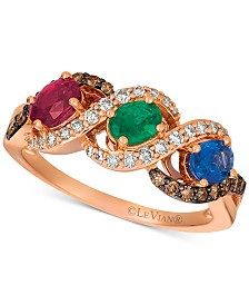 Le Vian® Multi-Gemstone (1-3/4 ct. t.w.) & Diamond (3/8 ct. t.w.) Ring in 14k Rose Gold