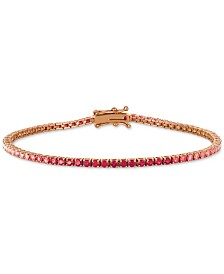 Le Vian® Strawberry Layer Cake Ruby (7/8 ct. t.w.) & Pink Sapphire (2 ct. t.w.) Link Bracelet in 14k Rose Gold