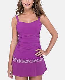 Profile by Gottex D-Cup Lace-Trim Tankini Top & Swim Skirt