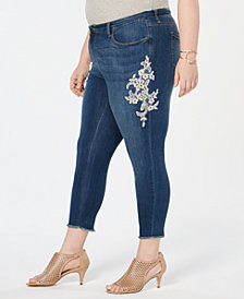 Style & Co Plus Size Cotton Lace-Appliqué Jeans, Created for Macy's