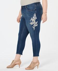 Style & Co Plus Size Cotton Lace-Appliqué Jeans, Created for Macy's