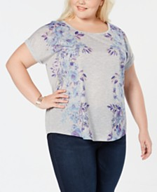 Style & Co Plus Size Embellished Printed Graphic T-Shirt, Created for Macy's