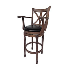 Larsen Traditional Leather 30.5 Inch Swivel Barstool with Arms, Chocolate Brown