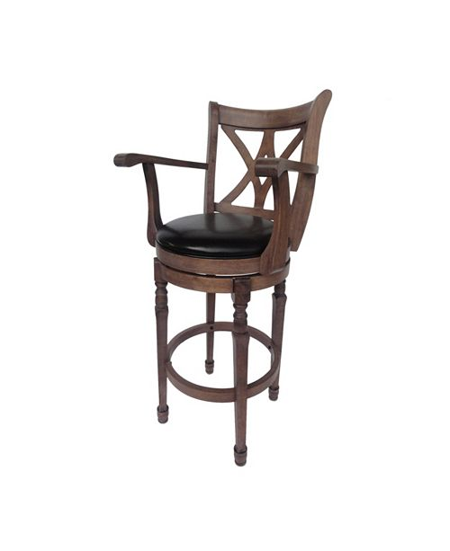 Tremendous Larsen Traditional Leather 30 5 Inch Swivel Barstool With Arms Chocolate Brown Pdpeps Interior Chair Design Pdpepsorg
