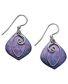 Jody Coyote Patina Bronze Earrings, Purple Drop Earrings