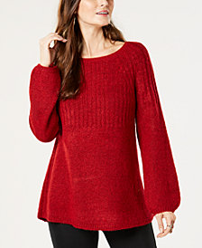 Style & Co Ribbed Bishop-Sleeve Sweater, Created for Macy's