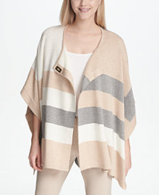 Calvin Klein Striped Poncho Sweater