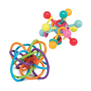 Manhattan Toy Winkel Rattle and Atom Teether Baby Toy Set