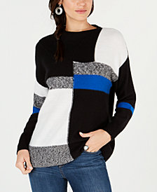Style & Co Petite Colorblock Envelope Collar Sweater, Created for Macy's