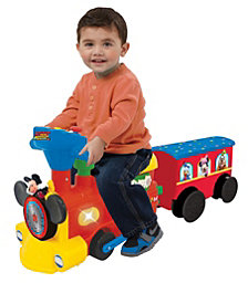 Kiddieland Disney Mickey Mouse 2 In 1 Battery Powered Ride On Choo Choo Train With Caboose And Tracks