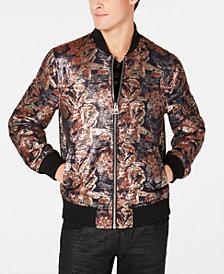 GUESS Men's Grand Floral Brocade Bomber Jacket