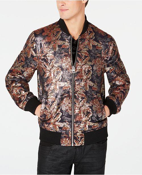 c6502cf46aa GUESS Men s Grand Floral Brocade Bomber Jacket   Reviews - Coats ...