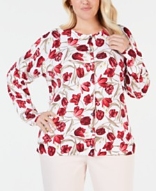 Karen Scott Plus Size Tulip-Print Cardigan, Created for Macy's