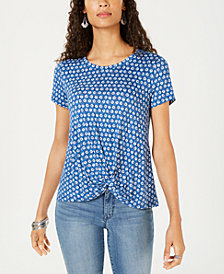 Style & Co Petite Twist-Front Top, Created for Macy's