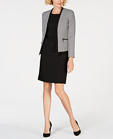 Le Suit Houndstooth Flyaway Jacket & Dress Suit