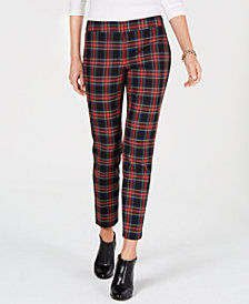 Tommy Hilfiger Plaid Slim-Fit Trousers, Created for Macy's