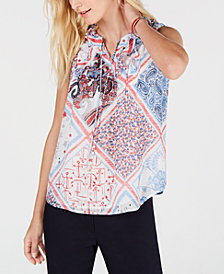 Tommy Hilfiger Patchwork-Print Tie-Neck Shell, Created for Macy's