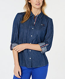 Tommy Hilfiger Cotton Embellished-Flag Logo Denim Shirt, Created for Macy's