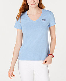 Tommy Hilfiger Rhinestone Flag Cotton T-Shirt, Created For Macy's