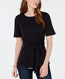 Tommy Hilfiger Front-Wrap Short-Sleeve Top, Created for Macy's