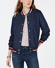 Tommy Hilfiger Cotton Button-Up Varsity Jacket, Created for Macy's