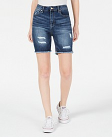 Juniors' Ripped Denim Bermuda Shorts