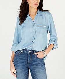 Style & Co Ladder-Trim Botton-Down Shirt, Created for Macy's