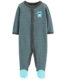 Baby Boys Striped Monster Cotton Coverall