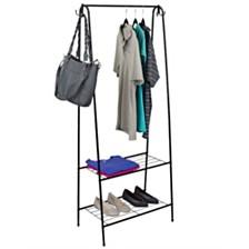 Home Basics 2 Shelf Free-Standing Garment Rack with Hooks
