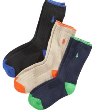 Polo Ralph Lauren 3Pk Ribbed Dress Socks Toddler Boys Little Boys  Big Boys