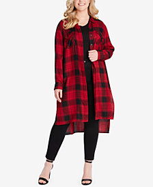 Jessica Simpson Plus Size Plaid Duster Shirt