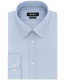 DKNY Men's Classic/Regular-Fit Performance Stretch Blue Stripe Dress Shirt, Created for Macy's