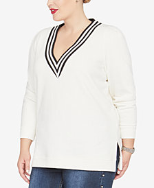 RACHEL Rachel Roy Trendy Plus Size Shiva V-Neck Sweatshirt