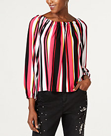 I.N.C. Striped Smock-Neck Peasant Top, Created for Macy's