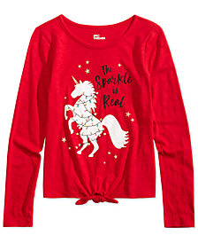 Epic Threads Big Girls Tie-Front Unicorn Holiday T-Shirt